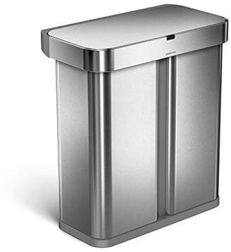 Simplehuman 58 Liter / 15.3 Gallon Stainless Steel Touch-Free Dual Compartment Rectangular Kitchen Trash Can Recycler with Voice and Motion Sensor