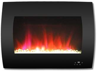 Cambridge Silversmiths 26 Curved Wall-Mount Electric Fireplace, Black