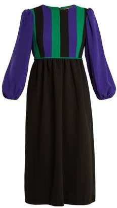 Duro Olowu - Balloon Sleeve Silk Blend Crepe Dress - Womens - Black Multi
