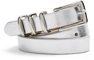 Topshop Metallic Faux Leather Skinny Belt