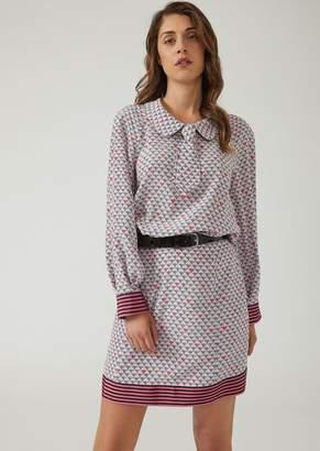 Emporio Armani Crepe De Chine Silk Tie Dress With Logo Pattern