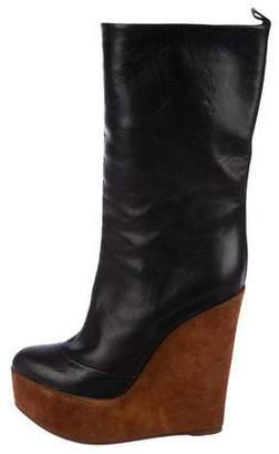 Celine Leather Wedge Booties
