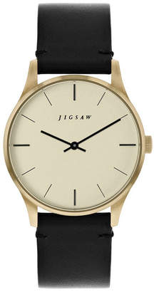 Jigsaw Ladies Watch, Gold Stainless Steel Case, Champagne Color Dial, Black Genuine Leather Strap