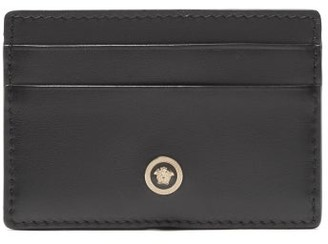 Versace Medusa Motif Leather Card Holder - Mens - Black