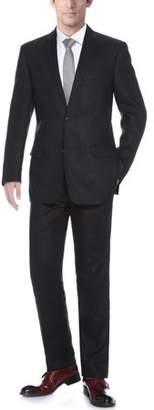 Verno Men's Black 100% Linen Classic Fit 2-piece Suit