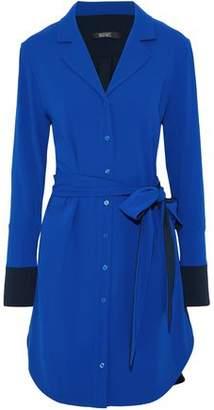 Badgley Mischka Belted Two-Tone Cady Shirt Dress