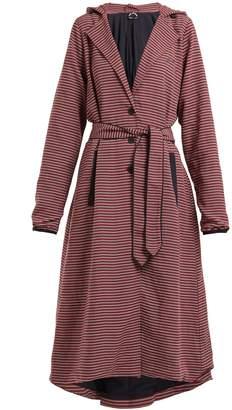 The Upside Striped hooded tie-waist linen-blend jacket