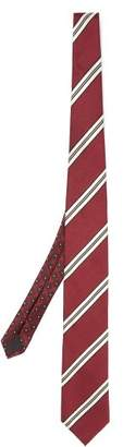 Prada Striped Silk Tie - Mens - Burgundy