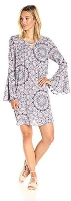 Ella Moon Women's Iliana 3/4 Bell Sleeve Lace up Neck Shift Dress