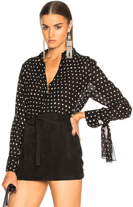 Saint Laurent Classic Crepe Viscose Polka Dot Shirt