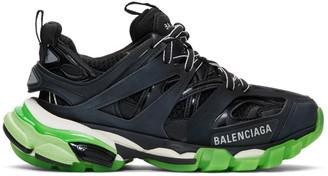 Balenciaga Black and Green Glow Track Sneakers