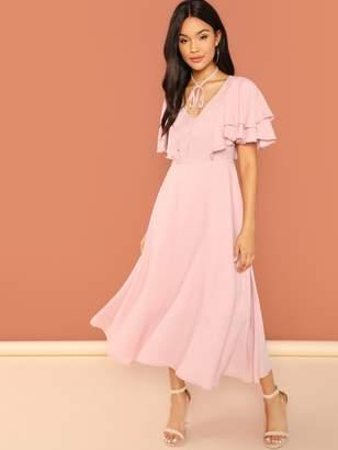 Shein Tie Neck Flutter Sleeve Flowy Solid Dress