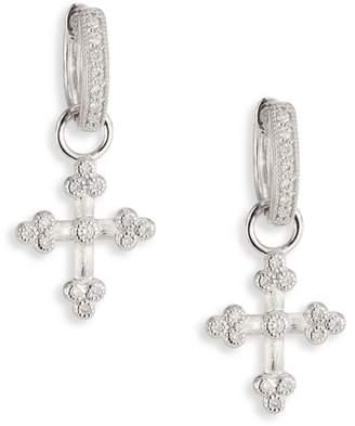 Jude Frances Tiny Cross Diamond & 18K White Gold Earring Charms