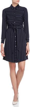 Karen Millen Navy Stripe Belted Shirtdress
