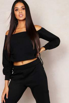 boohoo Off Shoulder Ruched Side Sweat Top