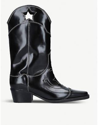 c4c279c487d6 Ganni Marlyn star-cutout contrast-stitch leather boots