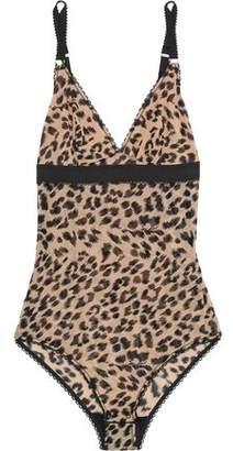 Stella McCartney Florence Fluttering Leopard-Print Mesh Bodysuit