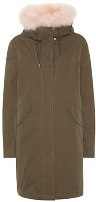 Yves Salomon Army Fur-trimmed cotton-blend parka