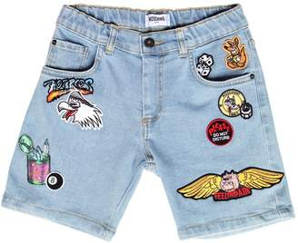Moschino Stretch Cotton Denim Short W/ Patches