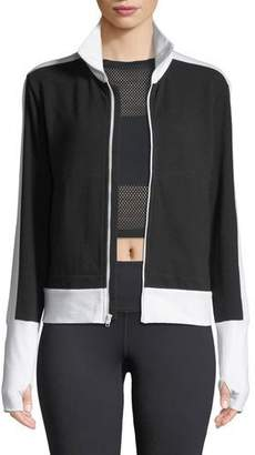 Norma Kamali Side-Stripe Turtleneck Jacket