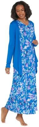 Carole Hochman Petite Elysian Floral Rayon Spandex Lounge Dress Set