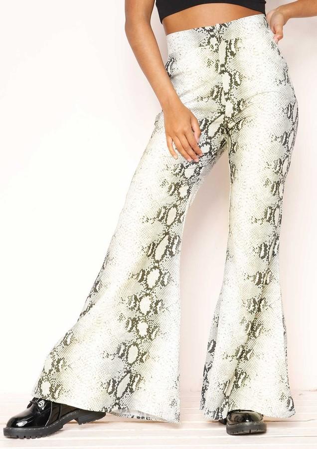 Missyempire Qiana Snake Print Flare Trousers