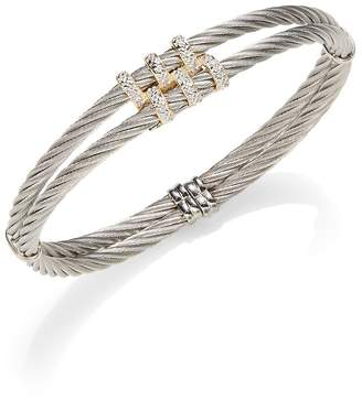 Alor Women's Classique Diamond & 18K Yellow Gold Double Cable Bracelet