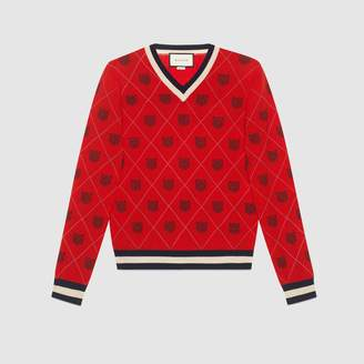 Gucci Tiger argyle wool sweater