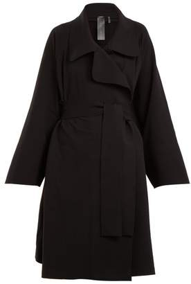 Norma Kamali - Notch Lapel Cotton Blend Jersey Coat - Womens - Black