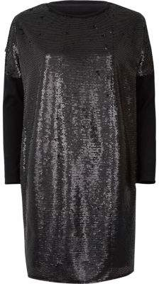 River Island Black sequin oversized long sleeve T-shirt