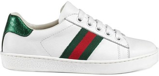 Gucci Kids Children's leather low-top with Web