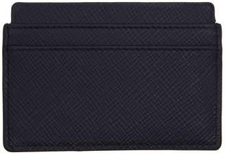 Smythson Navy Panama Card Holder
