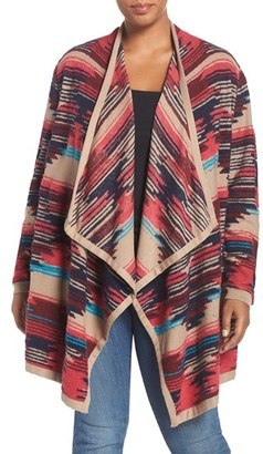 Lucky Brand Geo Pattern Drape Front Cardigan (Plus Size) $129 thestylecure.com