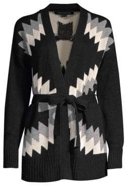 360 Cashmere Moxie Wool& Cashmere Intarsia Tie Cardigan