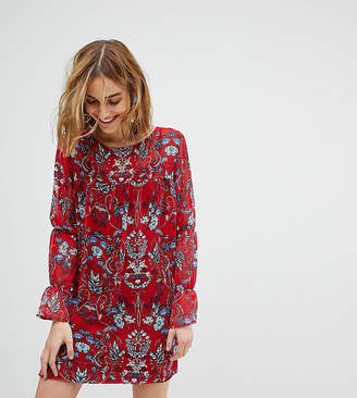 Inspired High Neck Dress With Western Patches - Red Reclaimed Vintage Buy Cheap Store ebU1nuiI