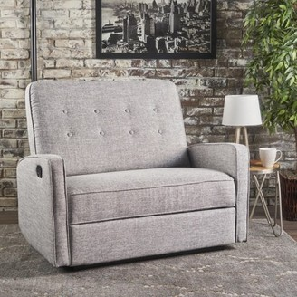 Noble House Capri Buttoned Tweed Fabric Reclining Loveseat,Light Grey