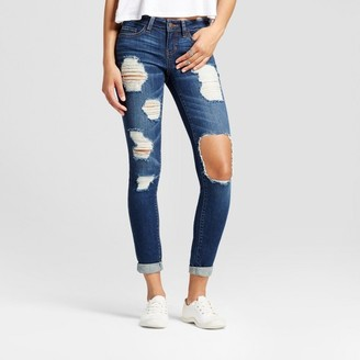 Dollhouse Women's Destructed Roll Cuff Skinny Jeans - Dollhouse® (Juniors') $32.99 thestylecure.com