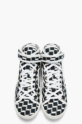 Pierre Hardy White and black canvas cube Sneakers