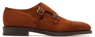 John Lobb William Monk Strap Suede Shoes - Mens - Tan