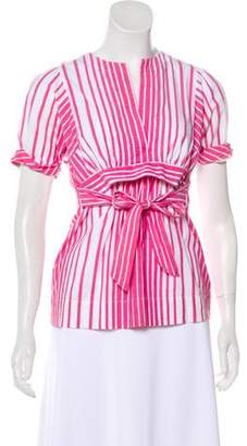 BCBGMAXAZRIA Striped Short Sleeve Top