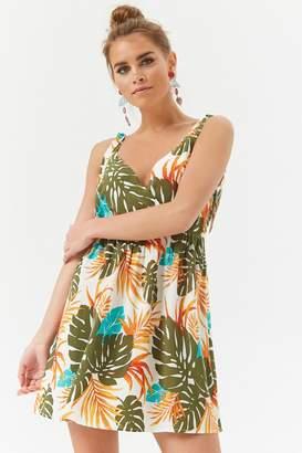 Forever 21 Foliage Print Surplice Dress