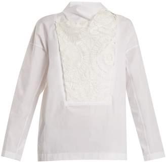 Toga Lace-bib cotton-poplin top