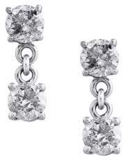 Effy Pave Classica Diamond and 14K White Gold Drop Earrings, 0.98 TCW