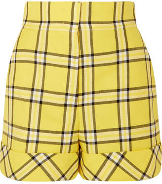 Sara Battaglia Checked Wool Shorts - Yellow