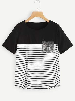 Shein Contrast Sequin Striped Tee