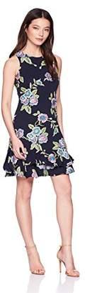 Robbie Bee Women's Petite Sleeveless Ruffle Hem Sheath Dress