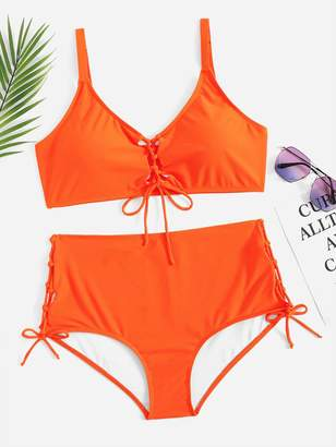 Shein Plus Lace-up Top With Side Tie Bikini Set