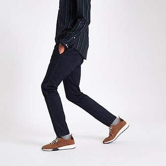 River Island Navy taped side skinny fit pants