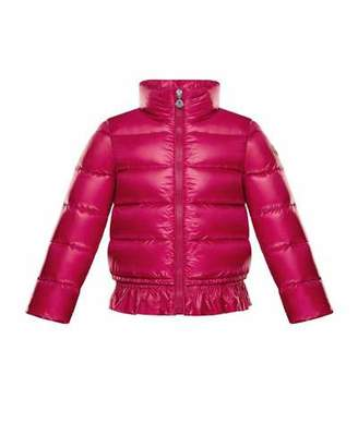 Moncler Anette Ruffle-Trim Quilted Coat, Size 8-14