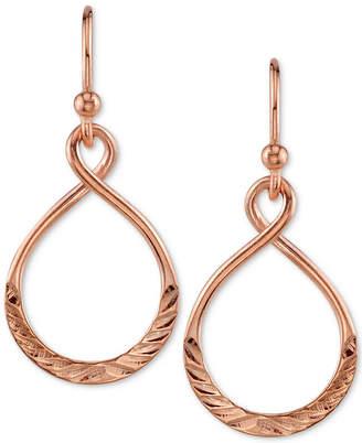 Unwritten Unwriiten Infinity Drop Hoop Earrings in Rose Gold-Flashed Sterling Silver